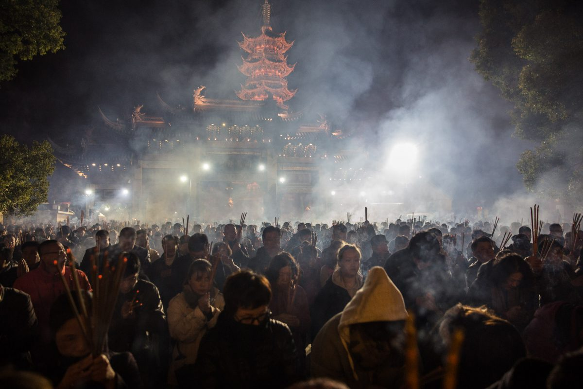 Celebration of the year of the Pig in Longhua Temple, the most ancient Buddhist Temple in Shanghai (built in 272 A.D. during the Song dinasty).
